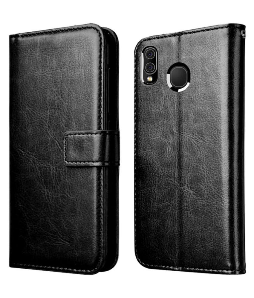 Samsung Galaxy M10s Flip Cover by Mobilive - Black Premium Leather,Inner TPU