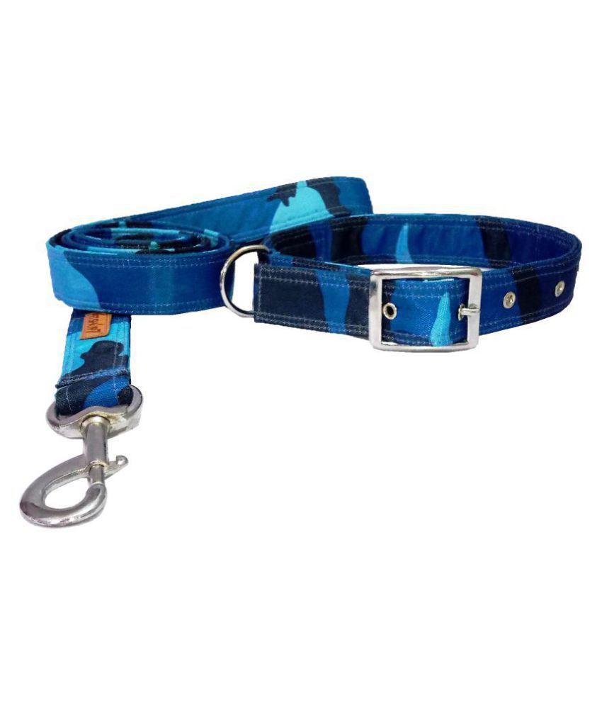 Petshop7 Quality & Stylish Nylon Printed Army Design Brown Dog Collar & Leash (0.75inch Small Size (12-18.5inch) (Small)