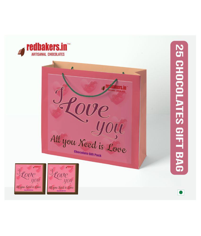 redbakers.in Chocolate Box ALL U NEEDISLOVE 25ChocolatesGIFTBAG250G 250 gm Pack of 25