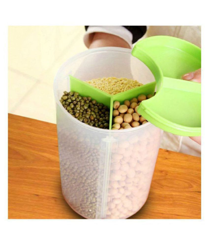 rushilwere 3 Section Container PET Food Container Set of 1 750 mL