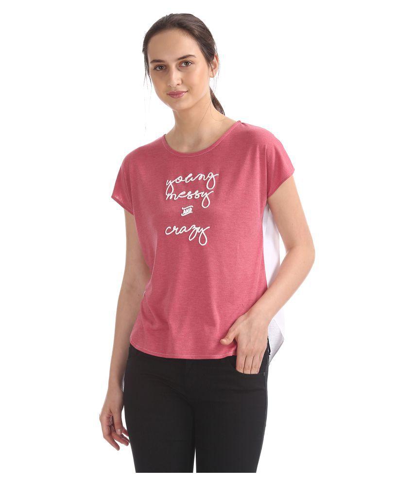 Sugr Cotton Blended Pink Regular Tops