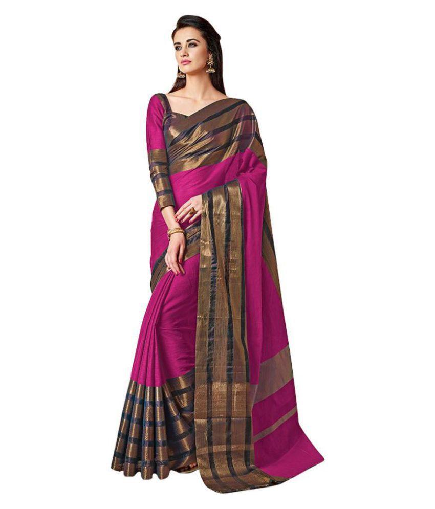 Looks & Likes Pink Cotton Silk Saree