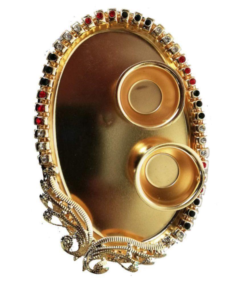 joya creation metal pooja thali for home decoration and gift.
