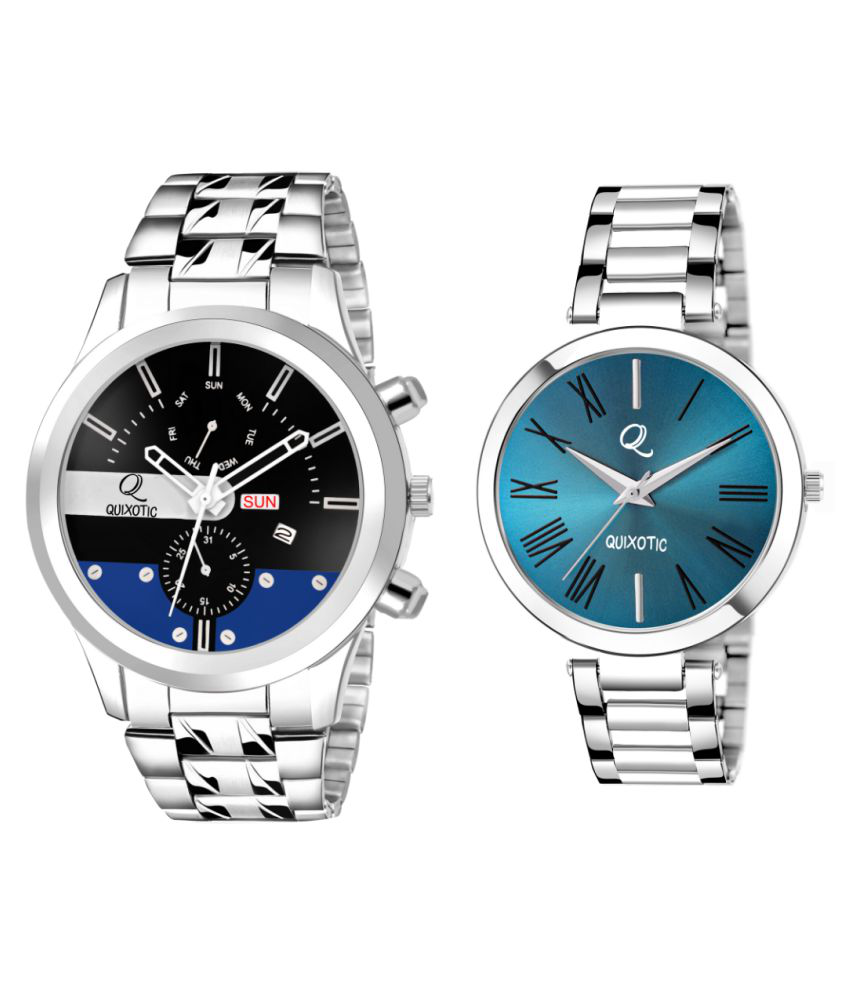 ♥ Black Day-Date Functioning & Blue Roman Dial Couple Wrist Watch #Exclusive