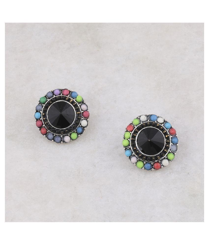 SILVER SHINE Attractive Party Wear Multi Colour Stud Diamond Earring For Women Girl
