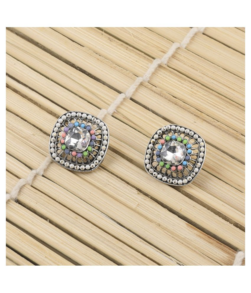SILVER SHINE Elegant Party Wear Multi Colour Stud Earring For Women Girl