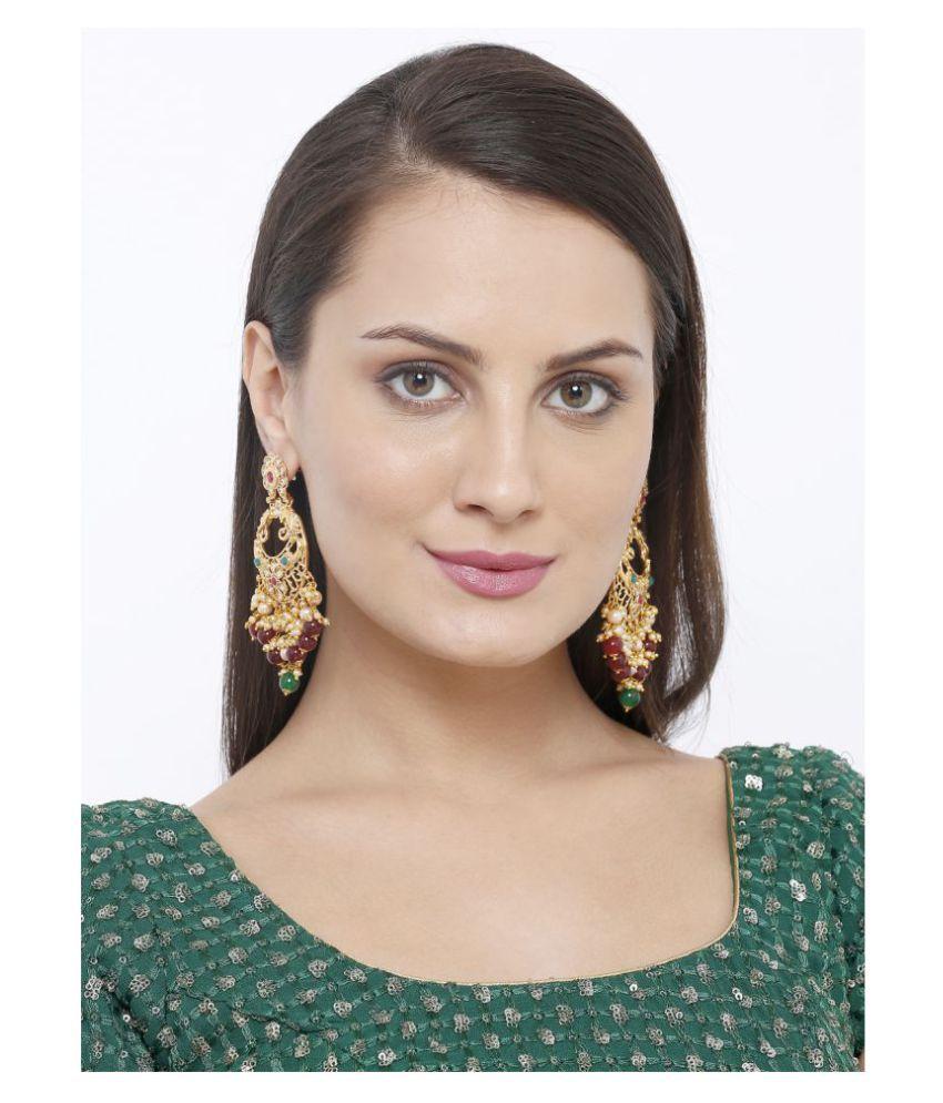 Salwar Studio Traditional Gold Plated Kundan & Pearl Chandeliers earrings for Women and girls