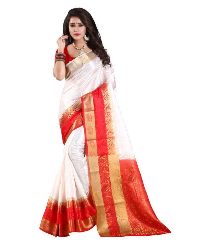 Nirja Fab White Cotton Silk Saree