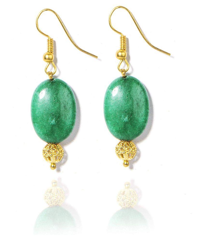 Gempro Genuine Green Onyx Golden Drop Earrings for Women