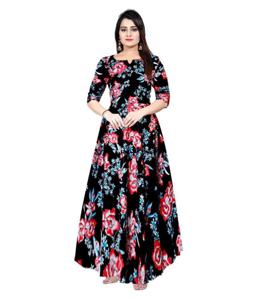 JWF Rayon Black A- line Dress
