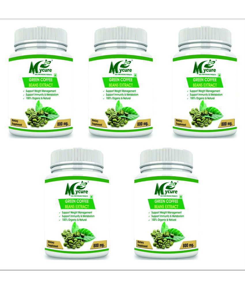 my cure PREMIUM QUALITY GREEN COFFEE 800 mg Capsule Pack of 5