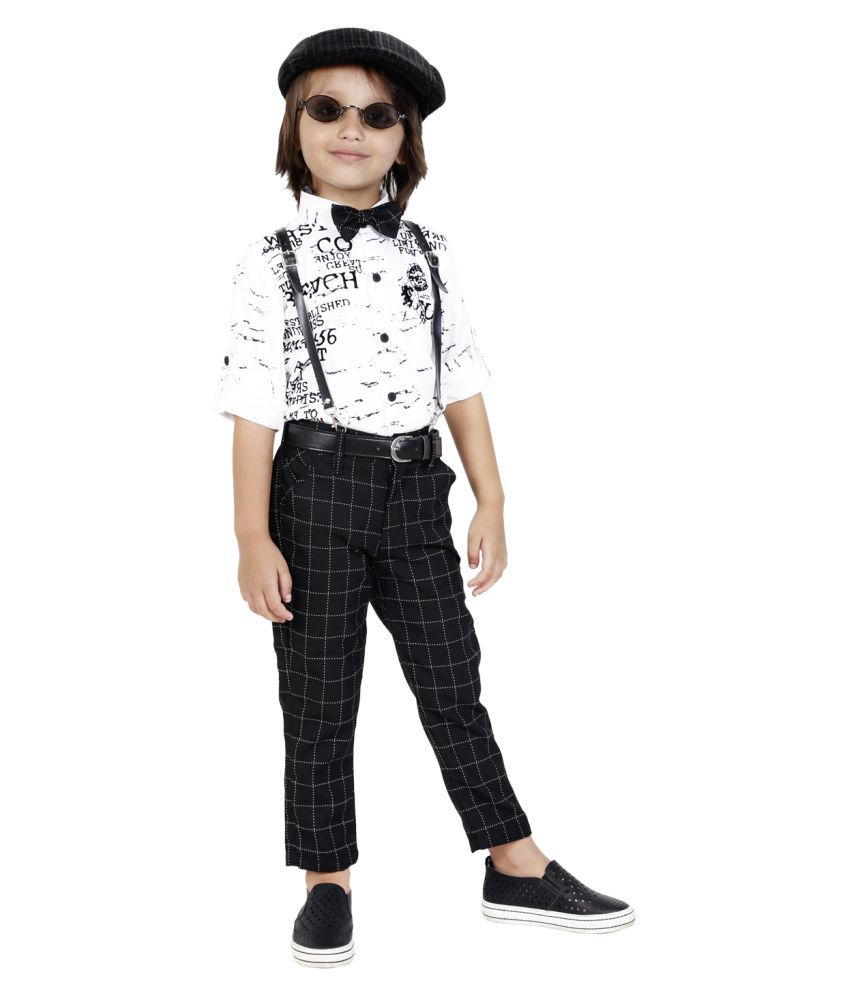 Bad Boys printed party Outfit with Suspenders and a Bow.