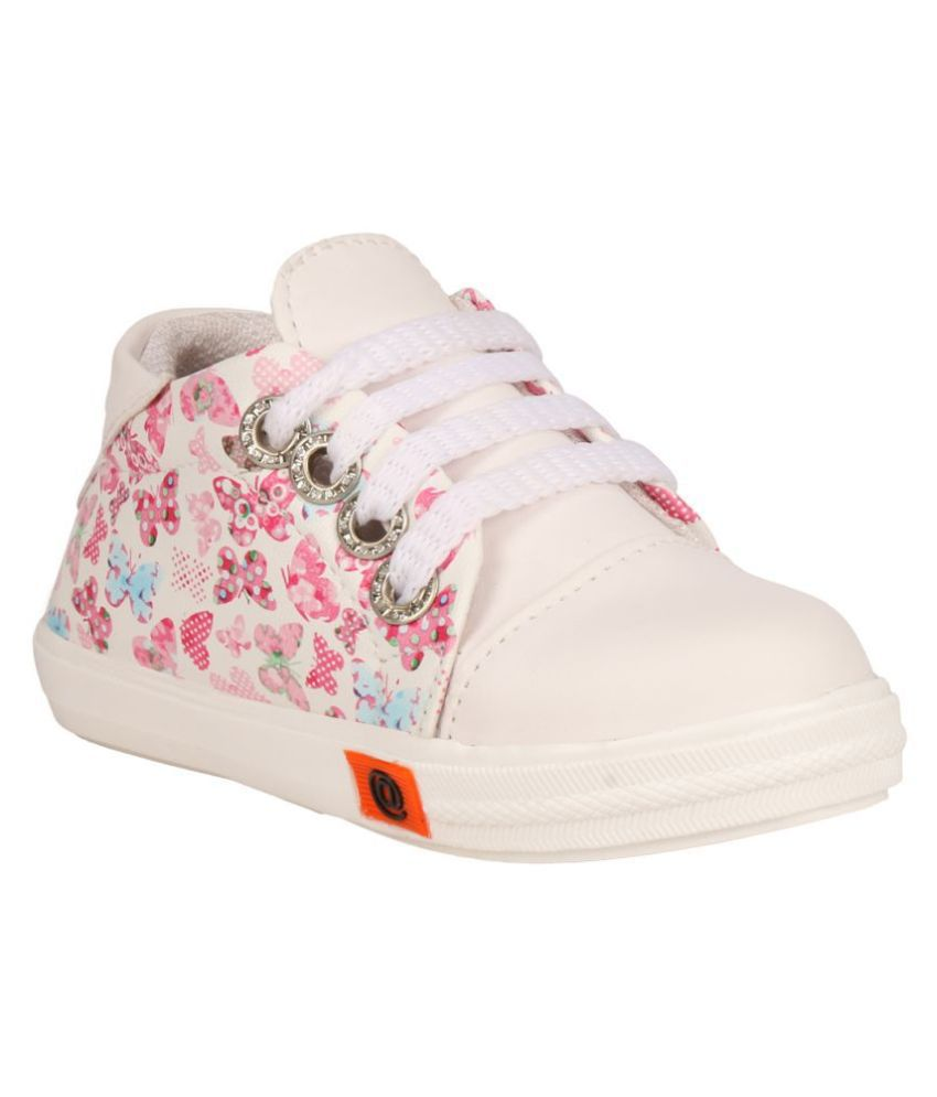 Flower Lace up Shoes-White