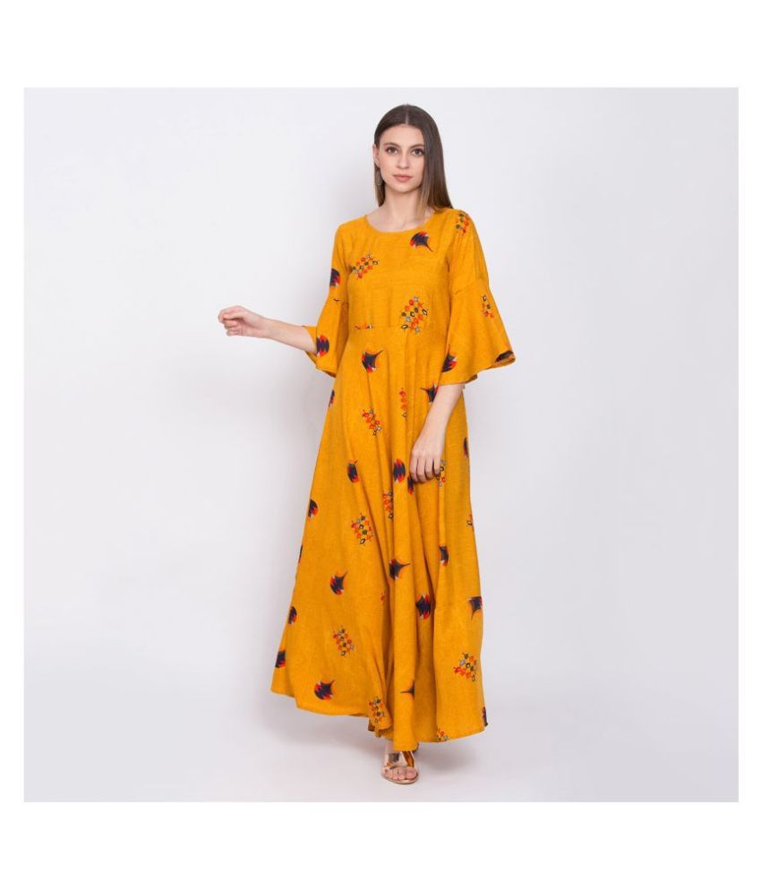 Raghumaya Crepe Yellow A- line Dress