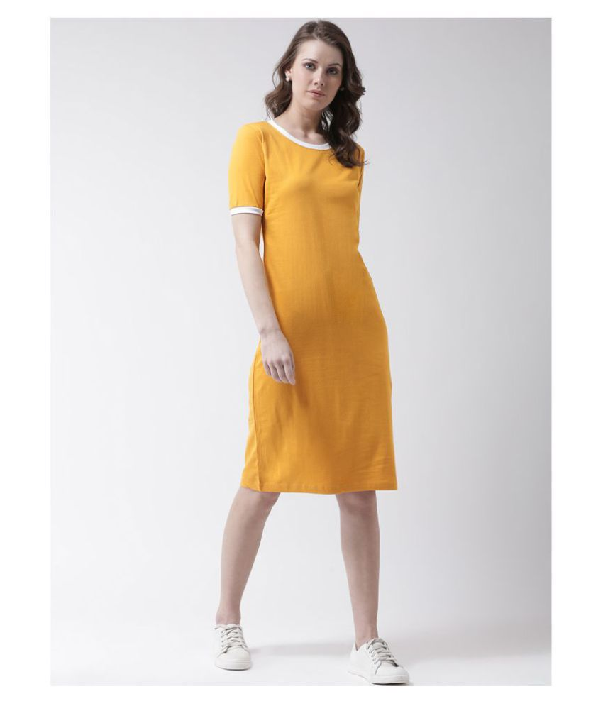 The Dry State Cotton Yellow T-shirt Dress