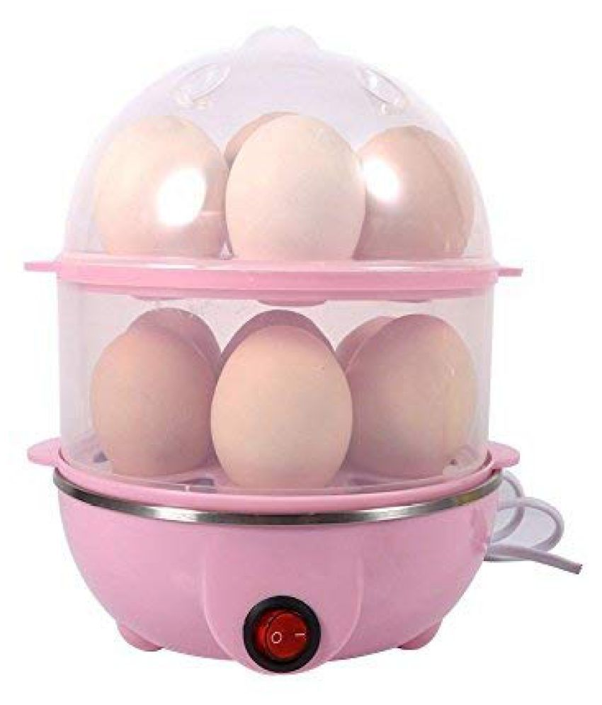 Blue Import & Export Stainless Steel 2 Layer 14 Egg Boiler, Cooker, Steamer with Measuring Cup (Multicolour)