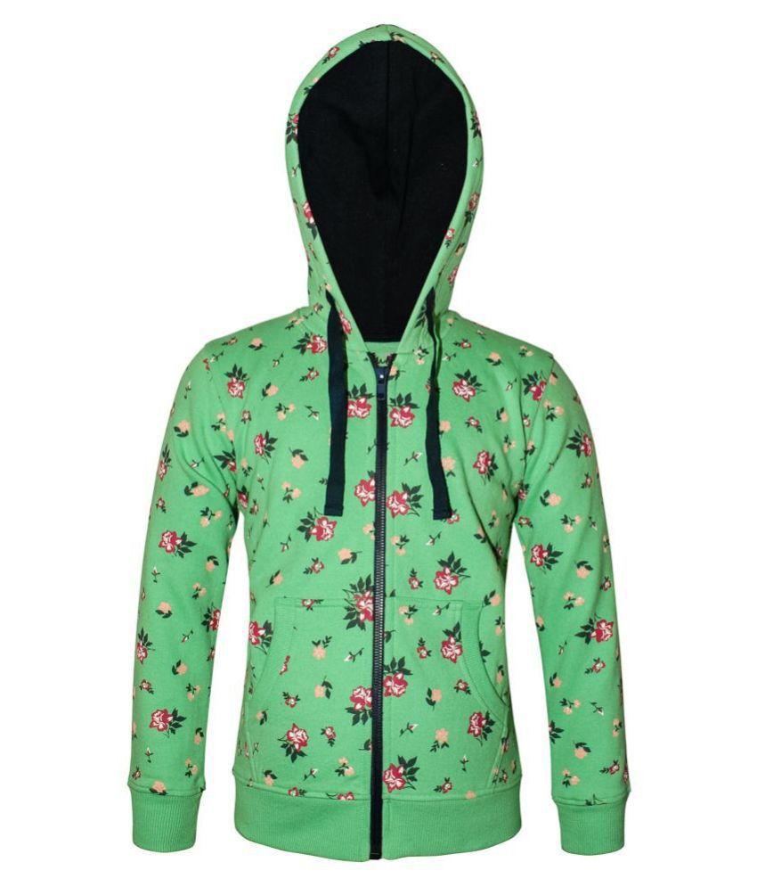 Kothari Printed Full Sleeve Zipper Closer Fleece With Hood Sweatshirt For Girls