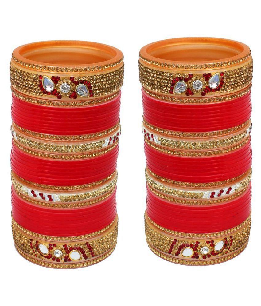 Lucky Jewellery Designer Golden White & Red Stone Chuda Bridal Wedding Choora Fashion Chura Set (1148-M1C1-715-R)
