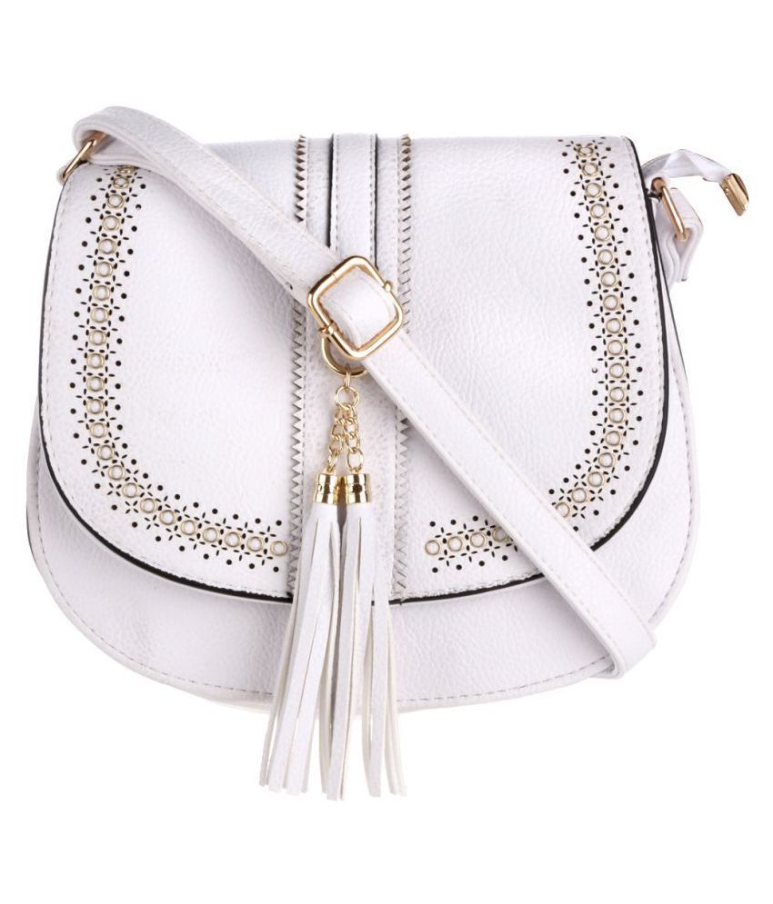 Satchel Bags & Accessories White P.U. Sling Bag