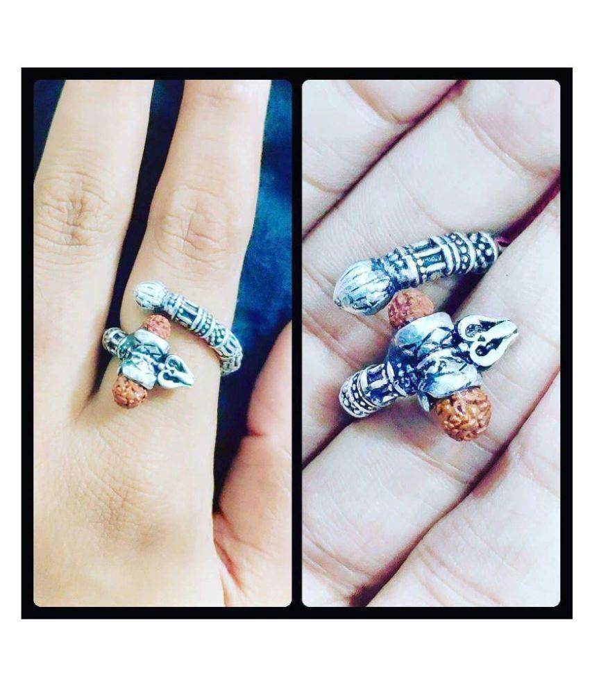 PS CREATIONS Adjustable Mahakal Trishul Ring For Unisex
