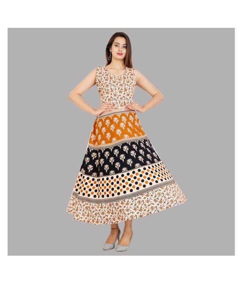 Rangun Cotton Beige A- line Dress