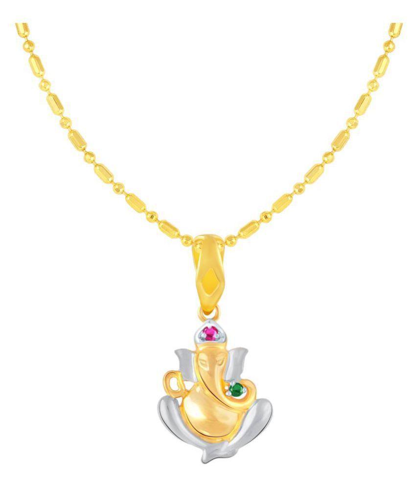 VIRINA Avighna Ganesh Gold Plated Alloy & Brass Cubic Zirconia God Pendant with Chain for Women & Men [VGP1097G]