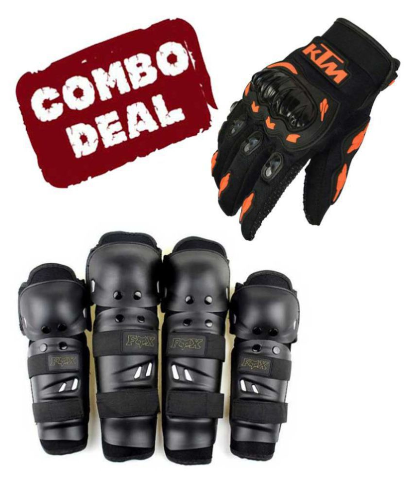 Biker Protective Gear Combo of Fox Elbow Knee Guard & KTM Gloves
