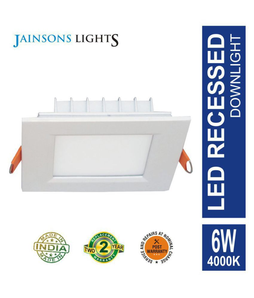 Jainsons Lights 6W Square Ceiling Light 11.6 cms. - Pack of 1