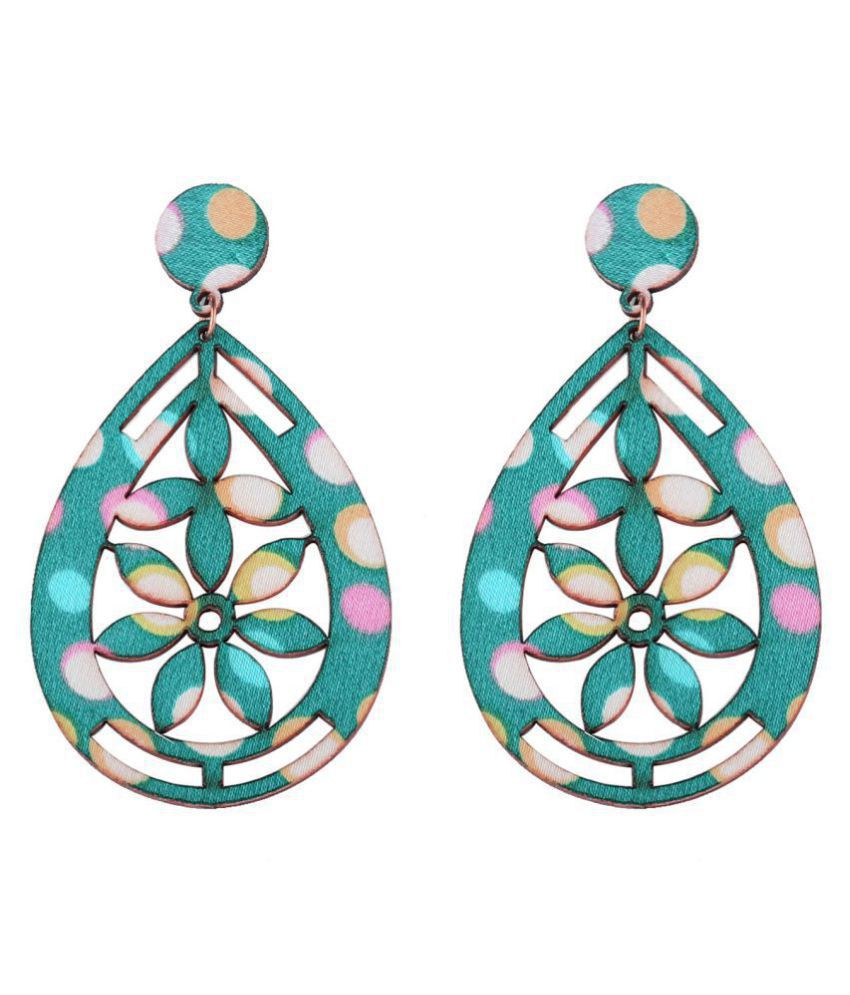 SILVER SHINE Party Wear Drop Wooden Light Weight Earrings for Girls and Women.