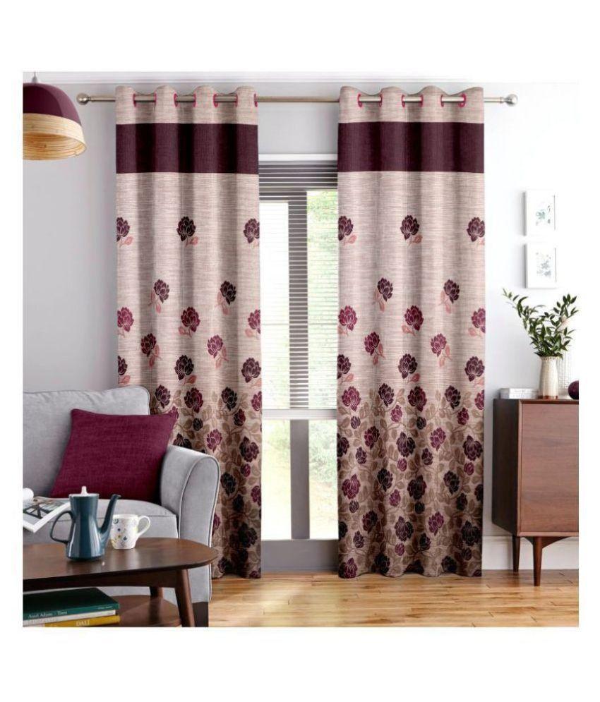 Story@Home Single Door Semi-Transparent Eyelet Jute Curtains Maroon