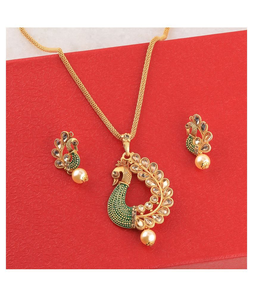 SILVERSHINE Charm Party Wear gold Plated Peacock Designer Pendant For Women Girl