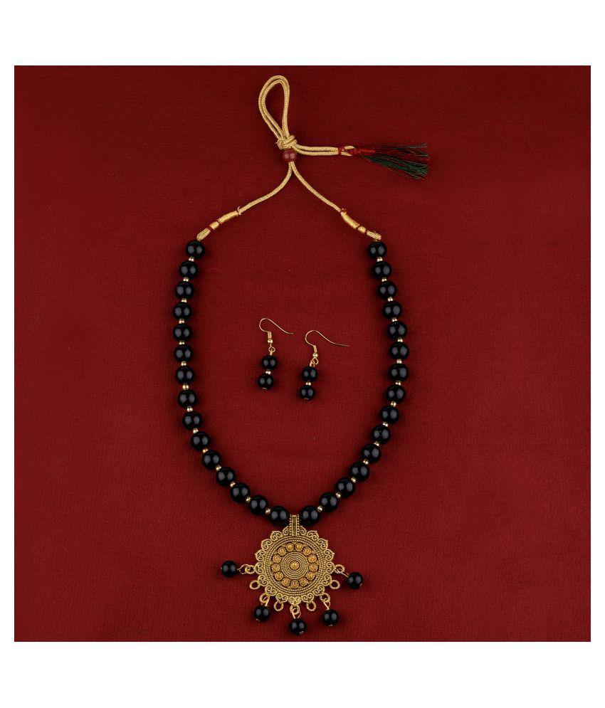SILVERSHINE Delicate  Gold Oxidised Pendant Black Pearl mala set for Women girl