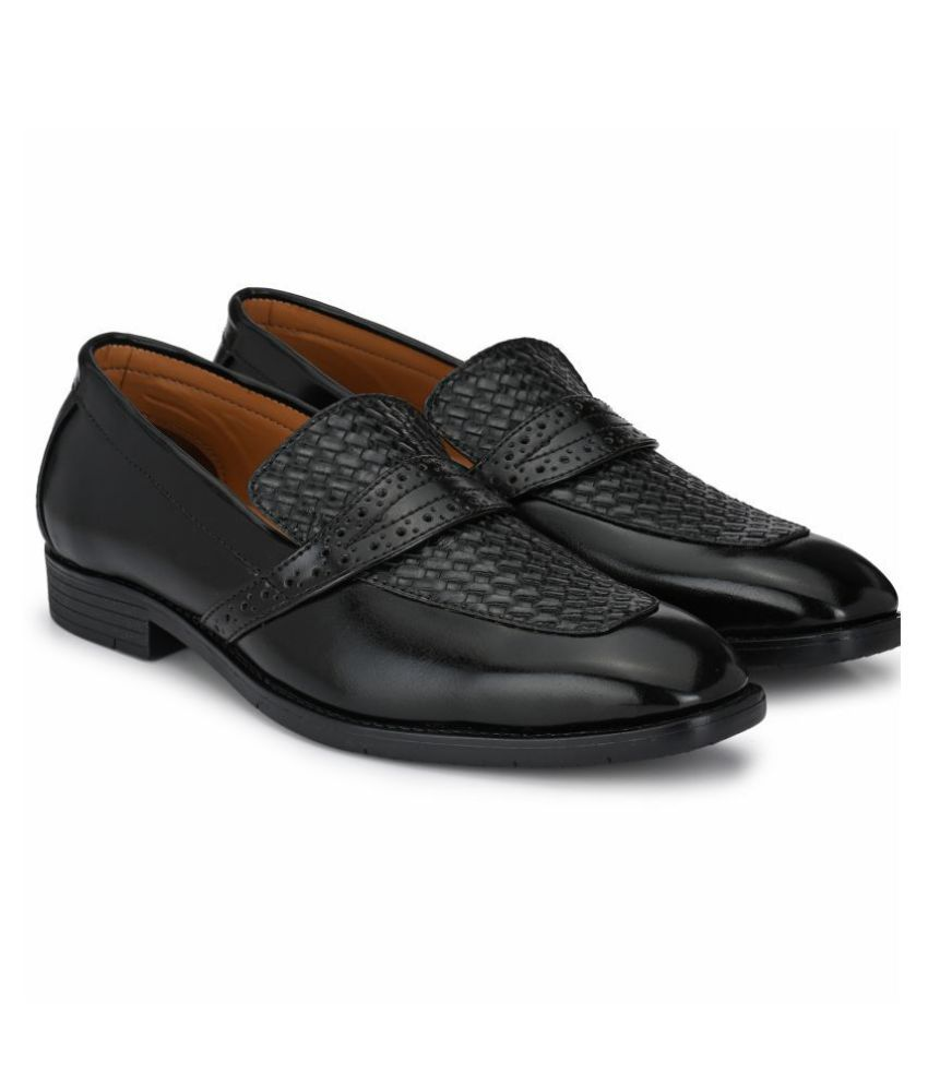 Prolific Slip On Artificial Leather Black Formal Shoes