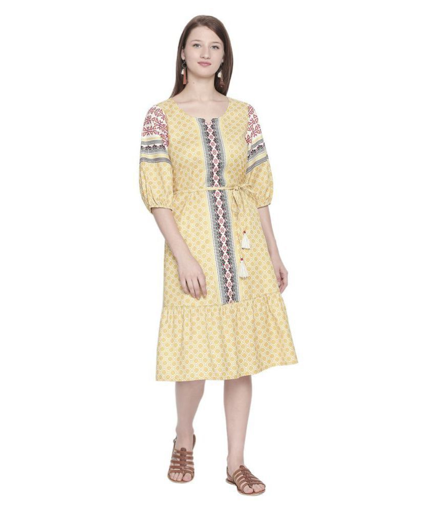 Fusion Beats Polyester Yellow Fit And Flare Dress