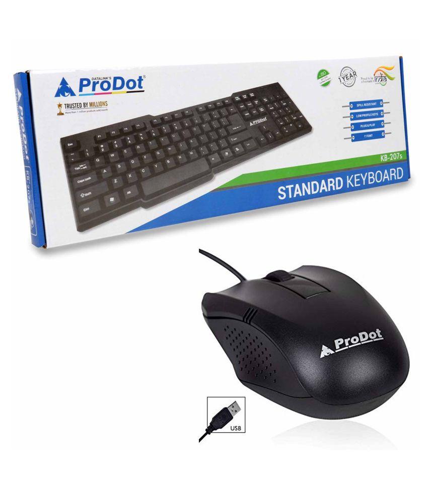 ProDot ProDot207 Black USB Wired Keyboard Mouse Combo
