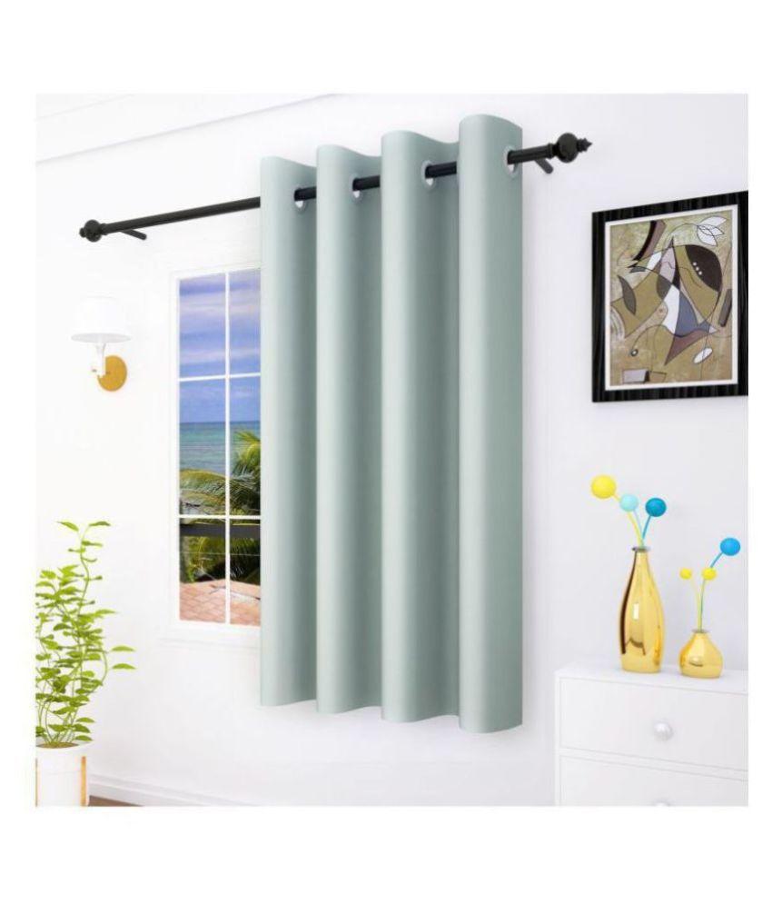Story@Home Single Window Blackout Room Darkening Eyelet Silk Curtains Grey