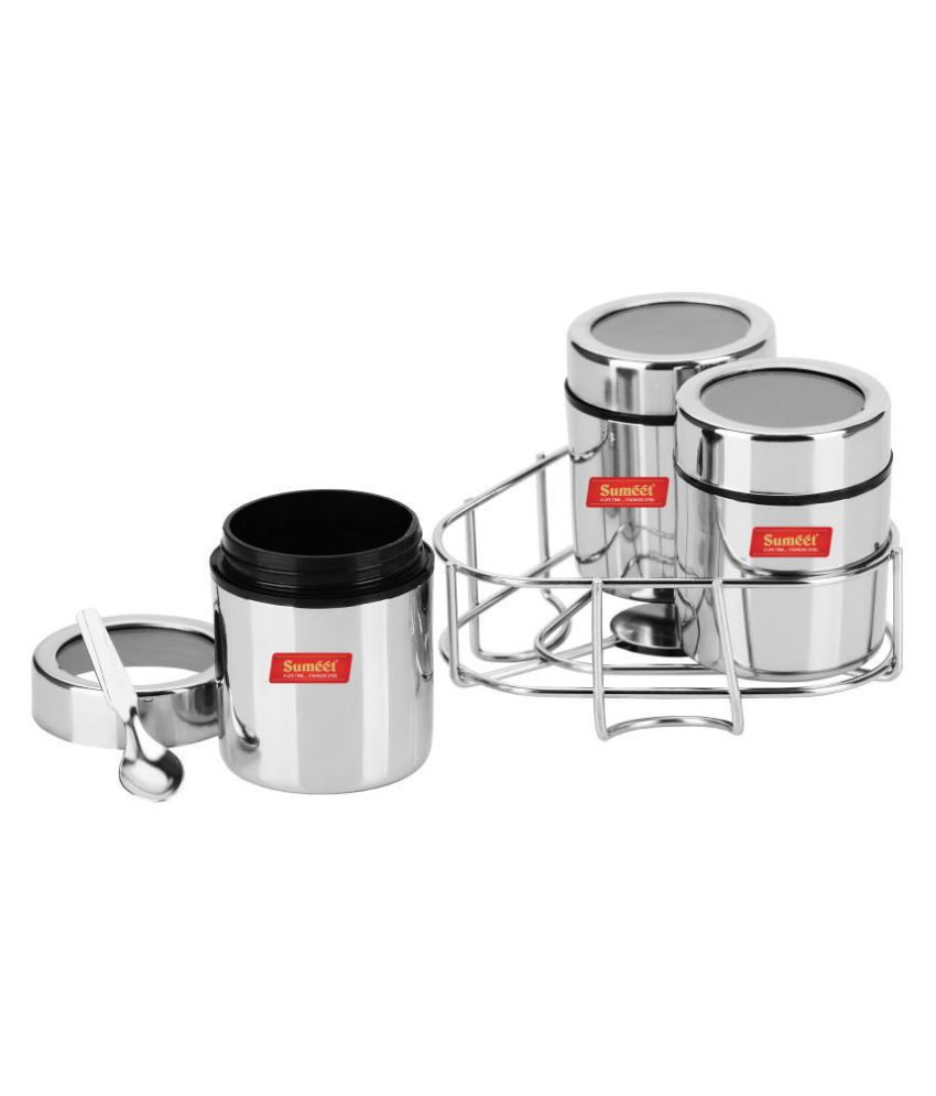 Sumeet Masala Set Stand 7pc Steel Spice Container Set of 3 200 mL