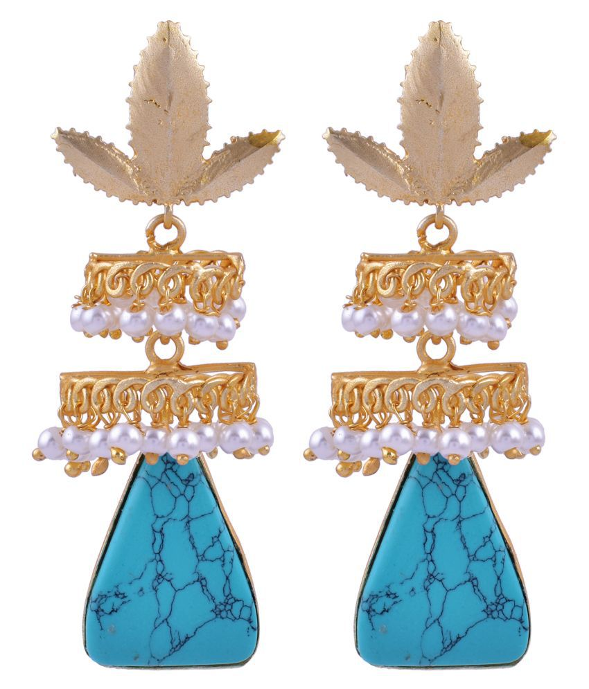 The Jewelry Creations Attractive Look! Blue Turquoise & Pearl Bridal Jewelry Gold Plated Minimalist Earring TJC-534