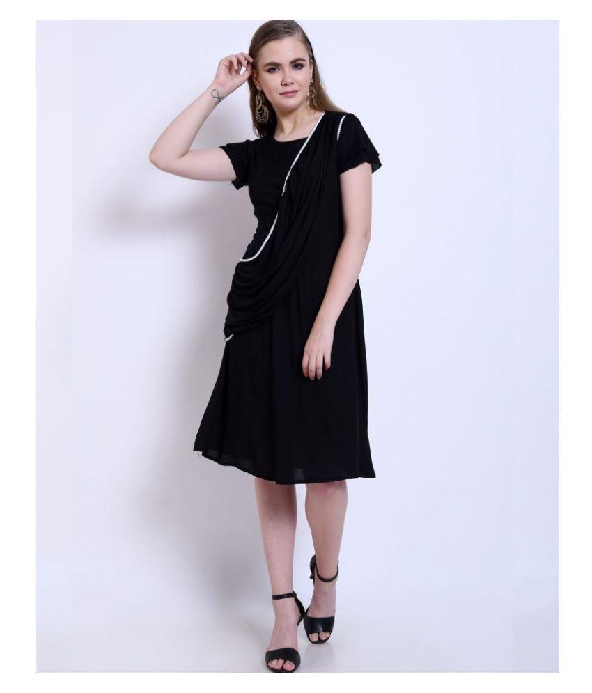 Addyvero Rayon Black A- line Dress