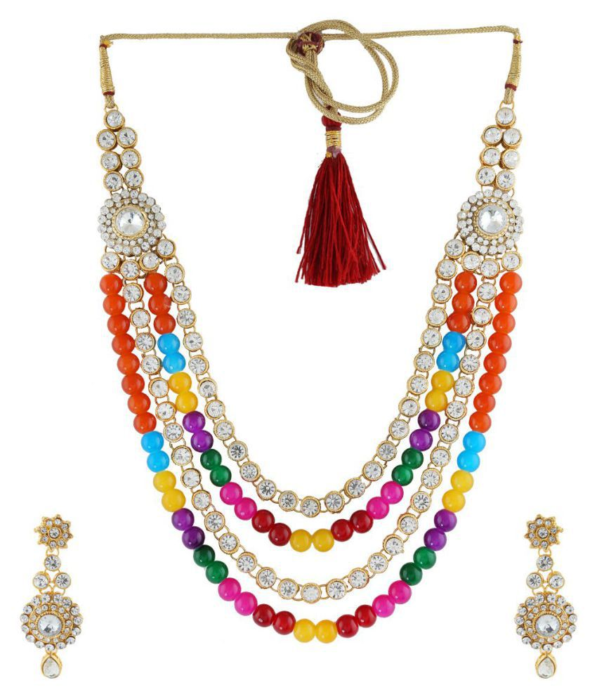 Anuradha Art Alloy Multi Color Contemporary Contemporary/Fashion Gold Plated Necklaces Set