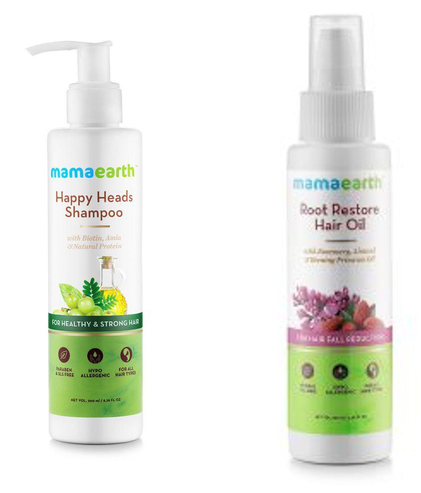 Mamaearth Happy Heads Natural Protein Hair Shampoo 200ml + Root Restore Hair Oil 100ml