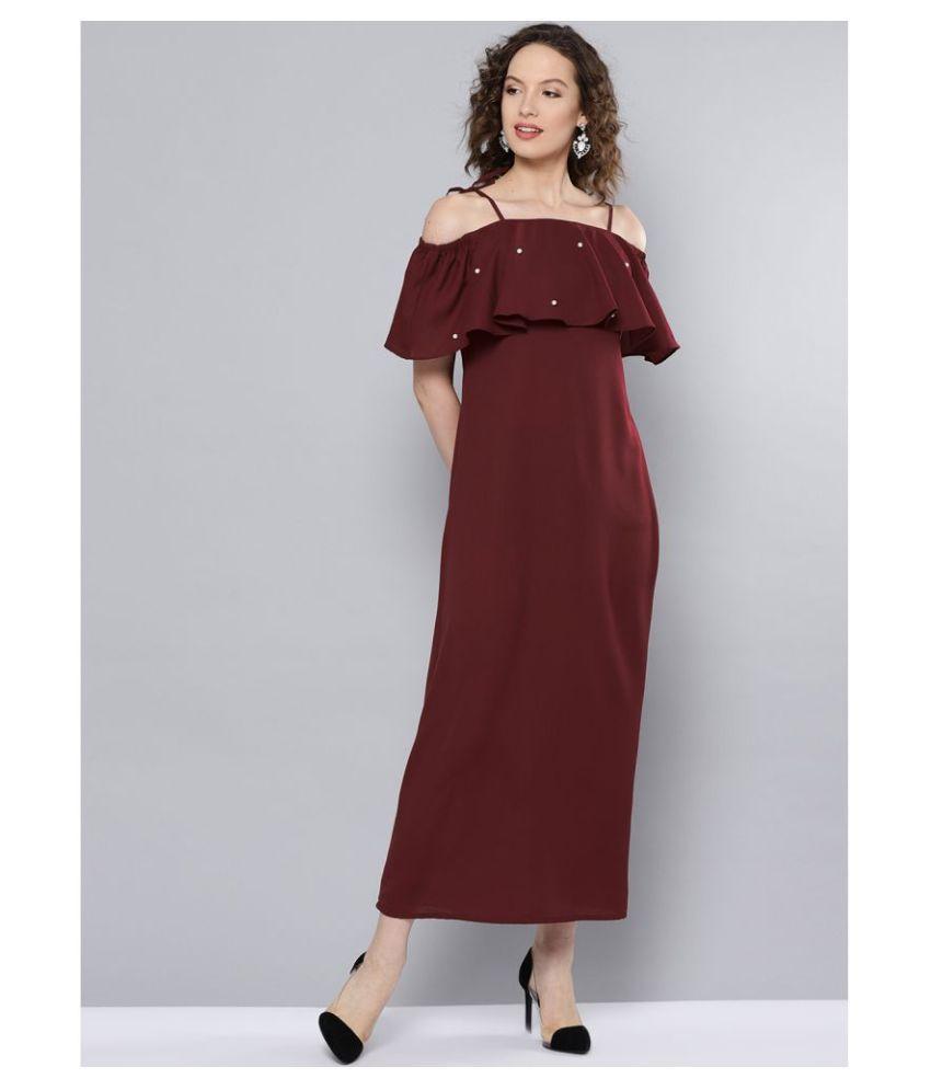 Besiva Polyester Maroon Regular Dress