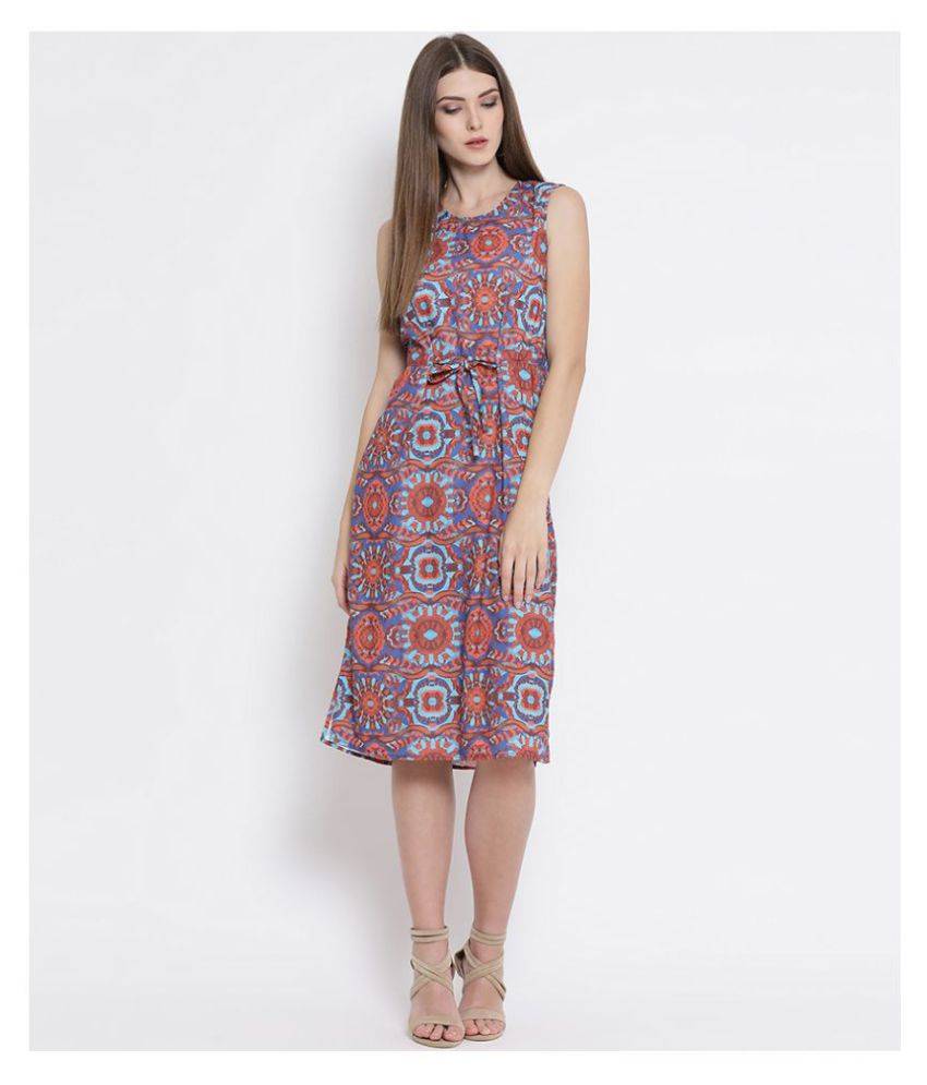 Oxolloxo Polyester Multi Color A- line Dress