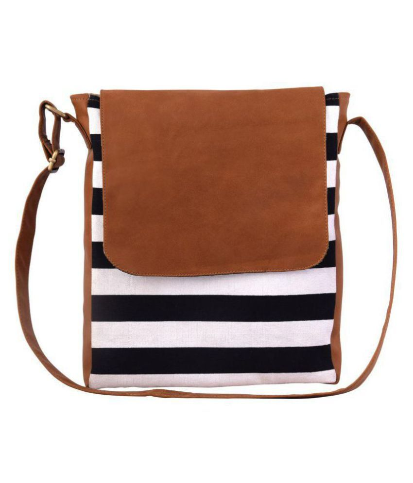 Lychee Bags Tan Canvas Sling Bag