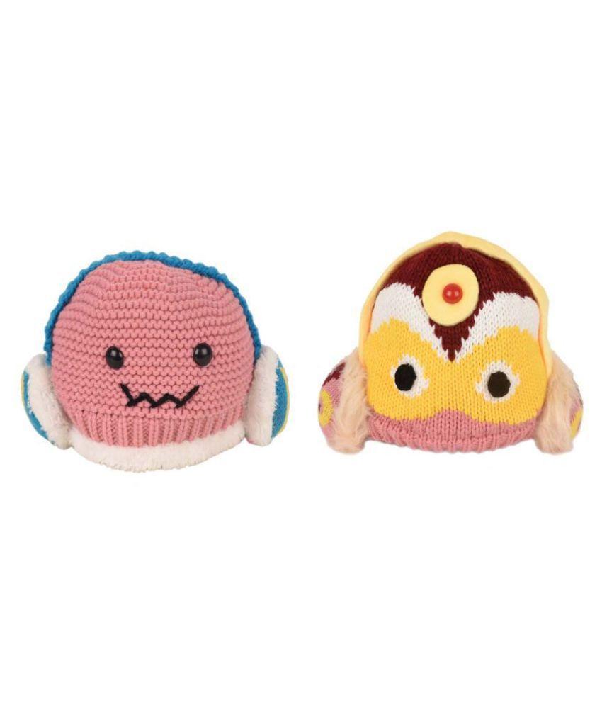 Tiekart A Combo Pack of 2 Warm Woolen Funky Winter Caps for Kids