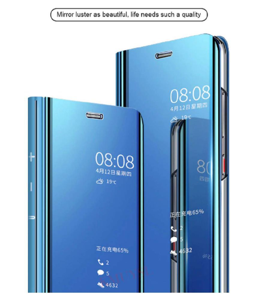 Vivo Y93 Flip Cover by BeingStylish - Blue Luxury Mirror Flip Cover