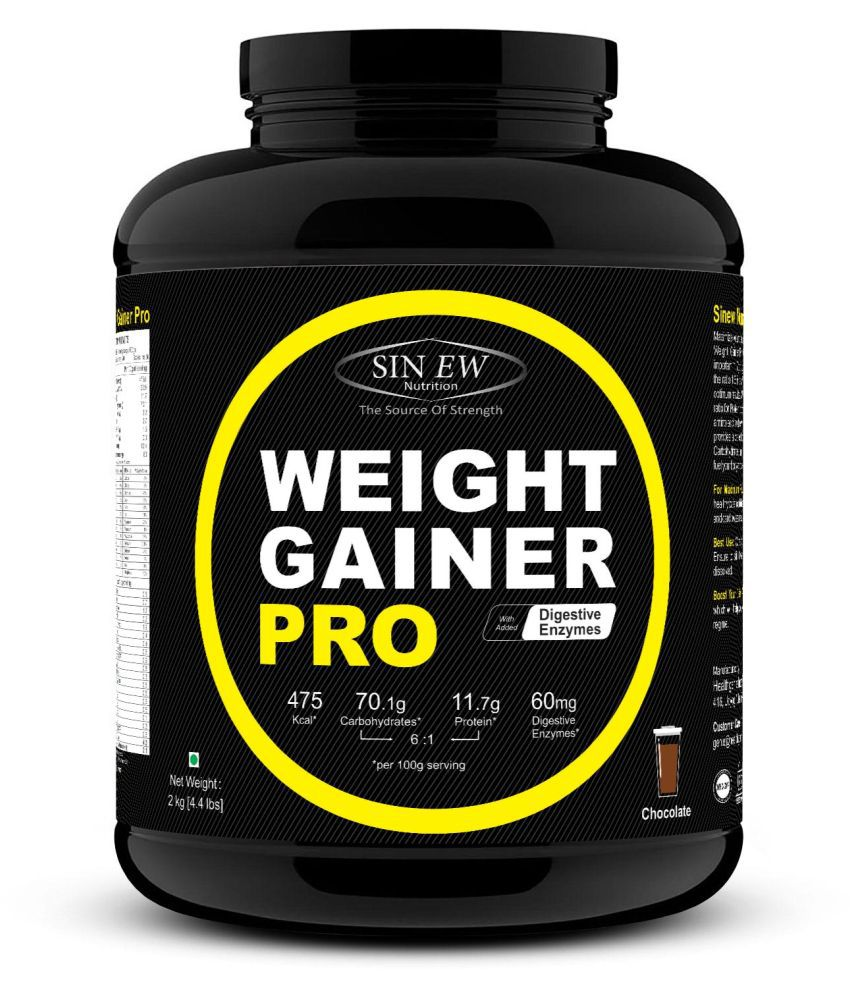 Sinew Nutrition Weight Gainer Pro with Digestive Enzymes,Chocolate 2 kg Weight Gainer Powder