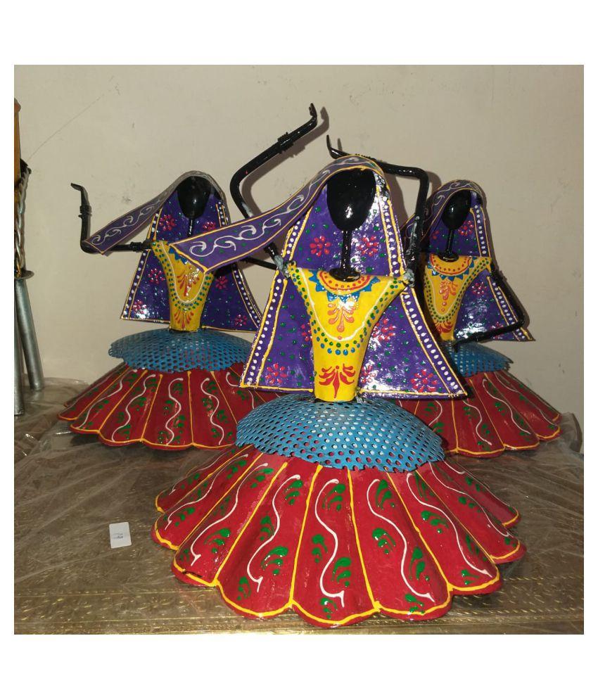 ANITHA DECORS Iron Female Kalberiya Dancing Dolls Set Of 3 Wall Sculpture Assorted - Pack of 1