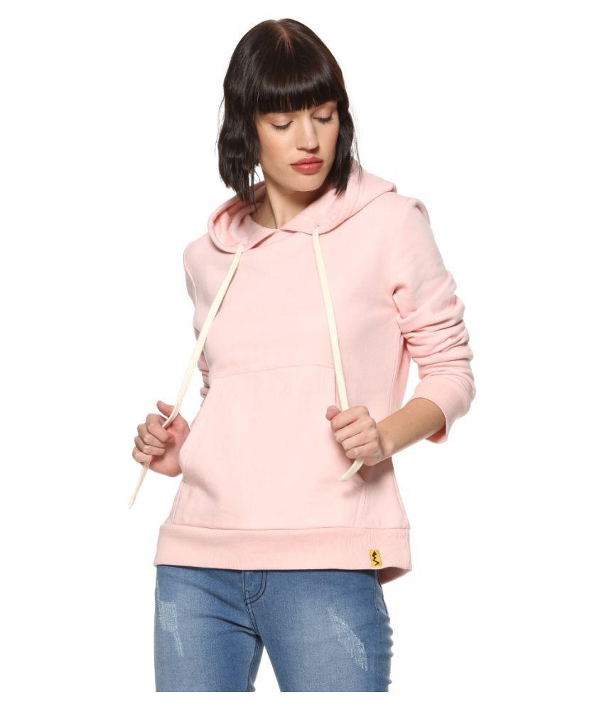 Campus Sutra Cotton Pink Hooded Sweatshirt