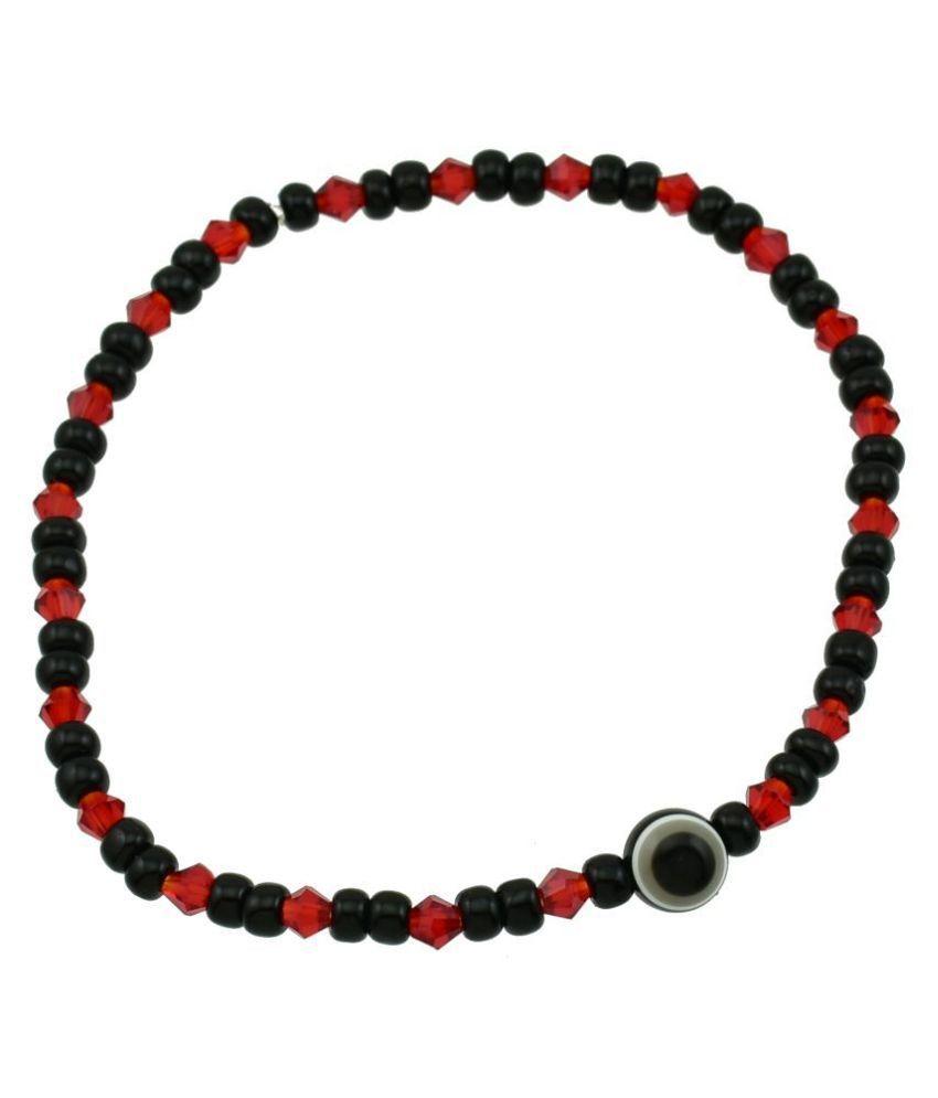 High Trendz Designer Black Beads Small Evil Eye Strechable Anklet